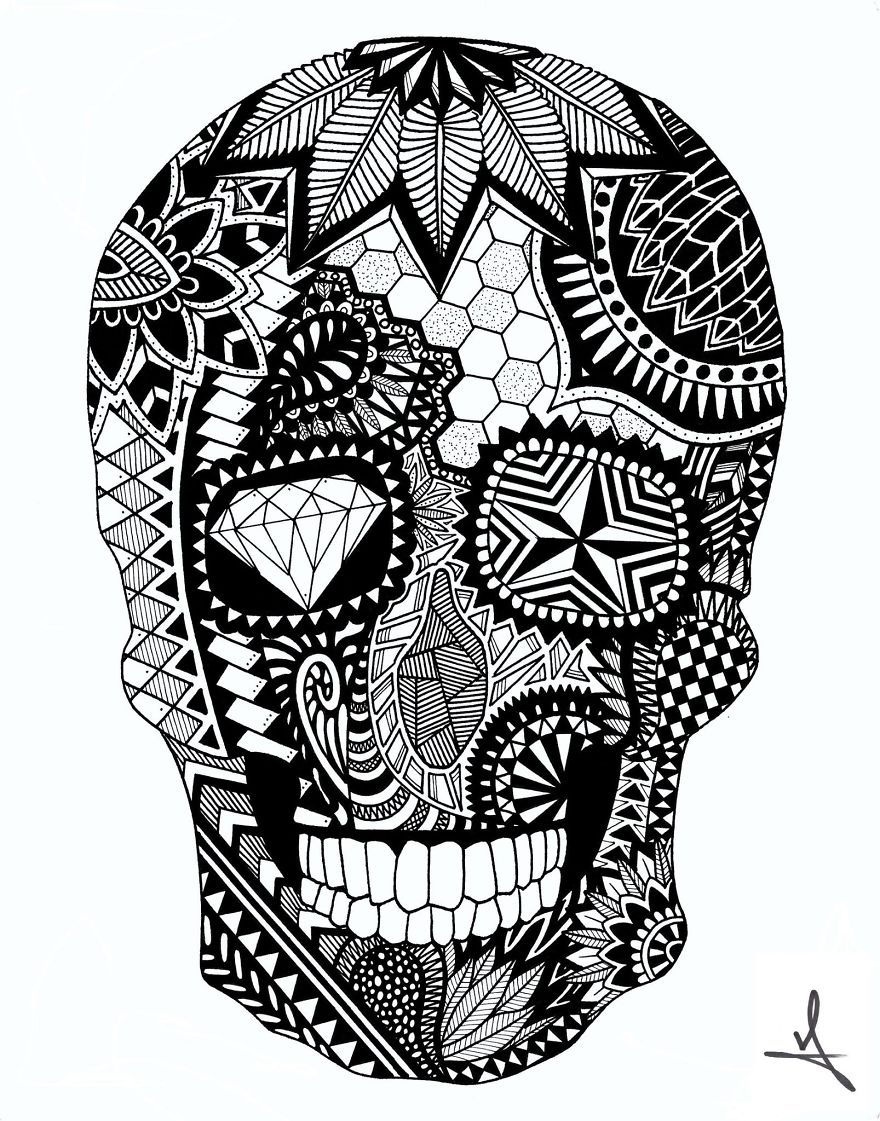 I spend hours creating intricate marker drawings of animals - Mandala animal ...