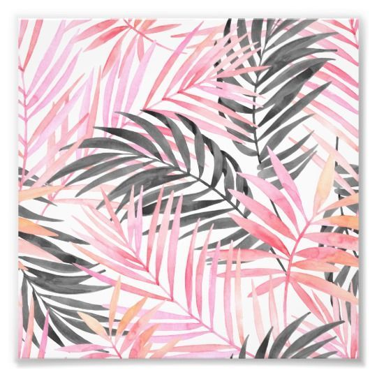 Watercolor Tropical Pink Palm Leaf Pattern Photo Print | Zazzle.com #tropicalpattern
