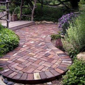 Superior Circular Brick Patio Designs With Bridge And Shurbs , Ravishing Brick Patio  Designs In Landscaping And