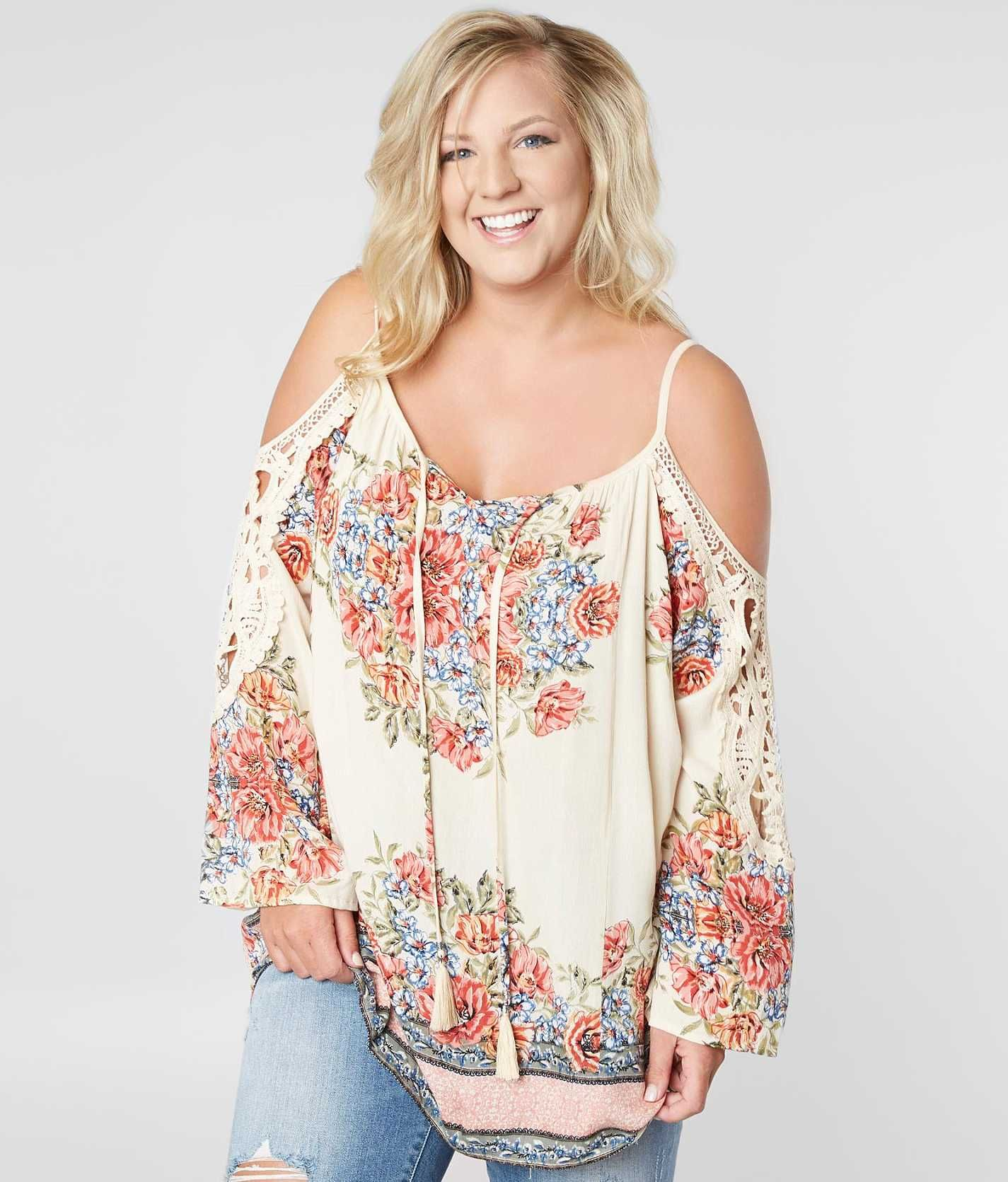 30ff636b1cd57 Angie Cold Shoulder Top - Plus Size Only - Women s Shirts Blouses in Yellow  Coral