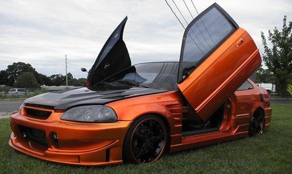 Perfect Design Orange Custom Honda Civic With Lambhorghini Doors Honda Civic Honda Civic