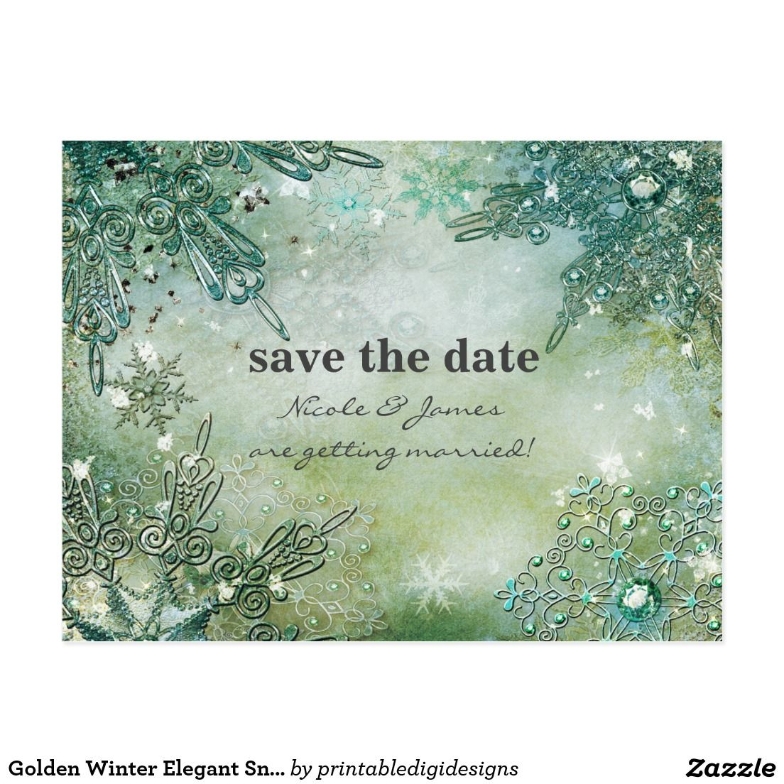 Golden Winter Elegant Snowflakes Save the date | winter wonderland ...