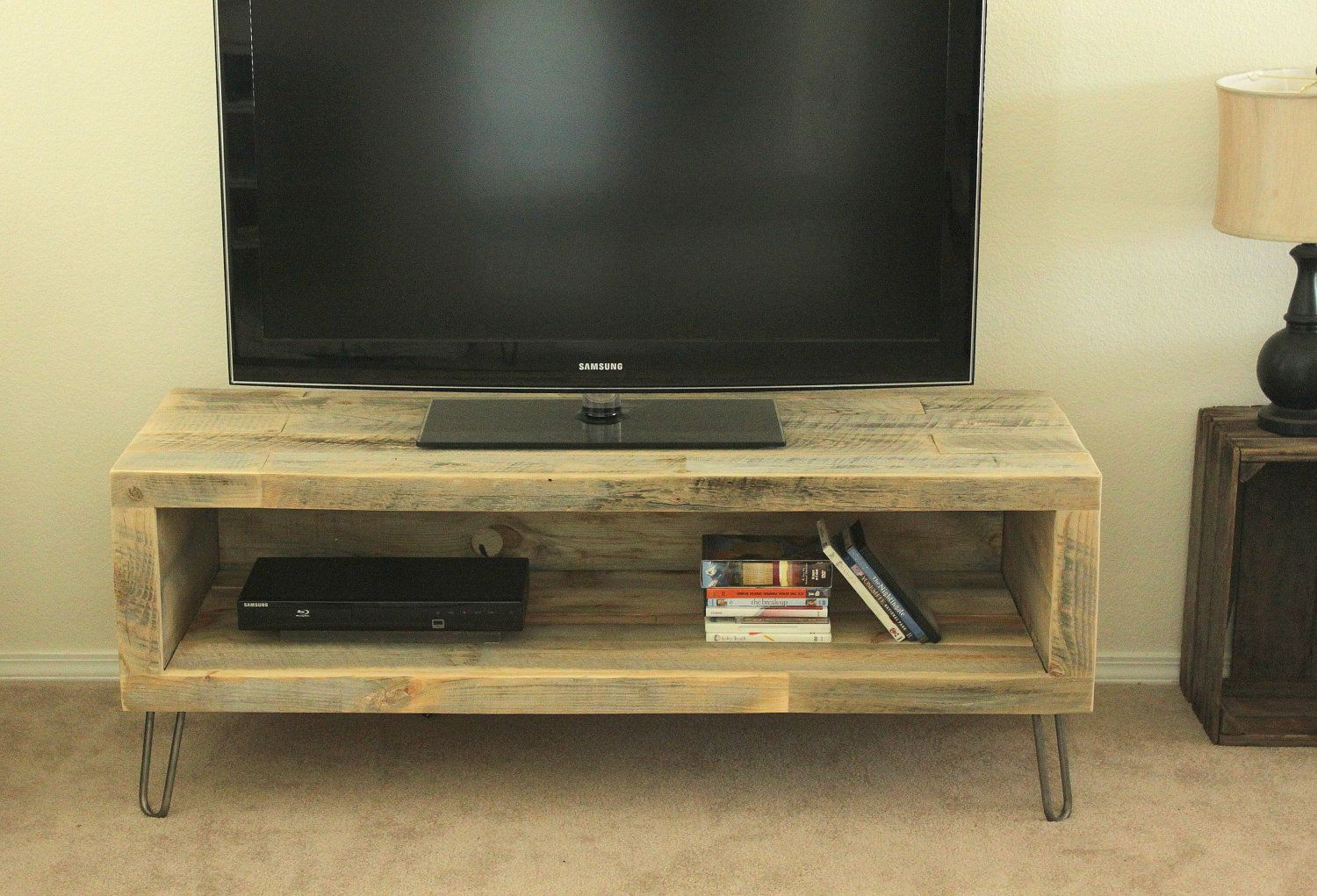 Reclaimed Wood Media Console Tv Stand 515 00 Via Etsy