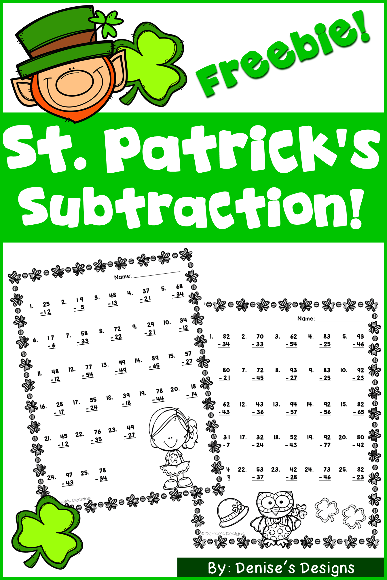 Double Digit Subtraction Worksheets St Patrick S Day