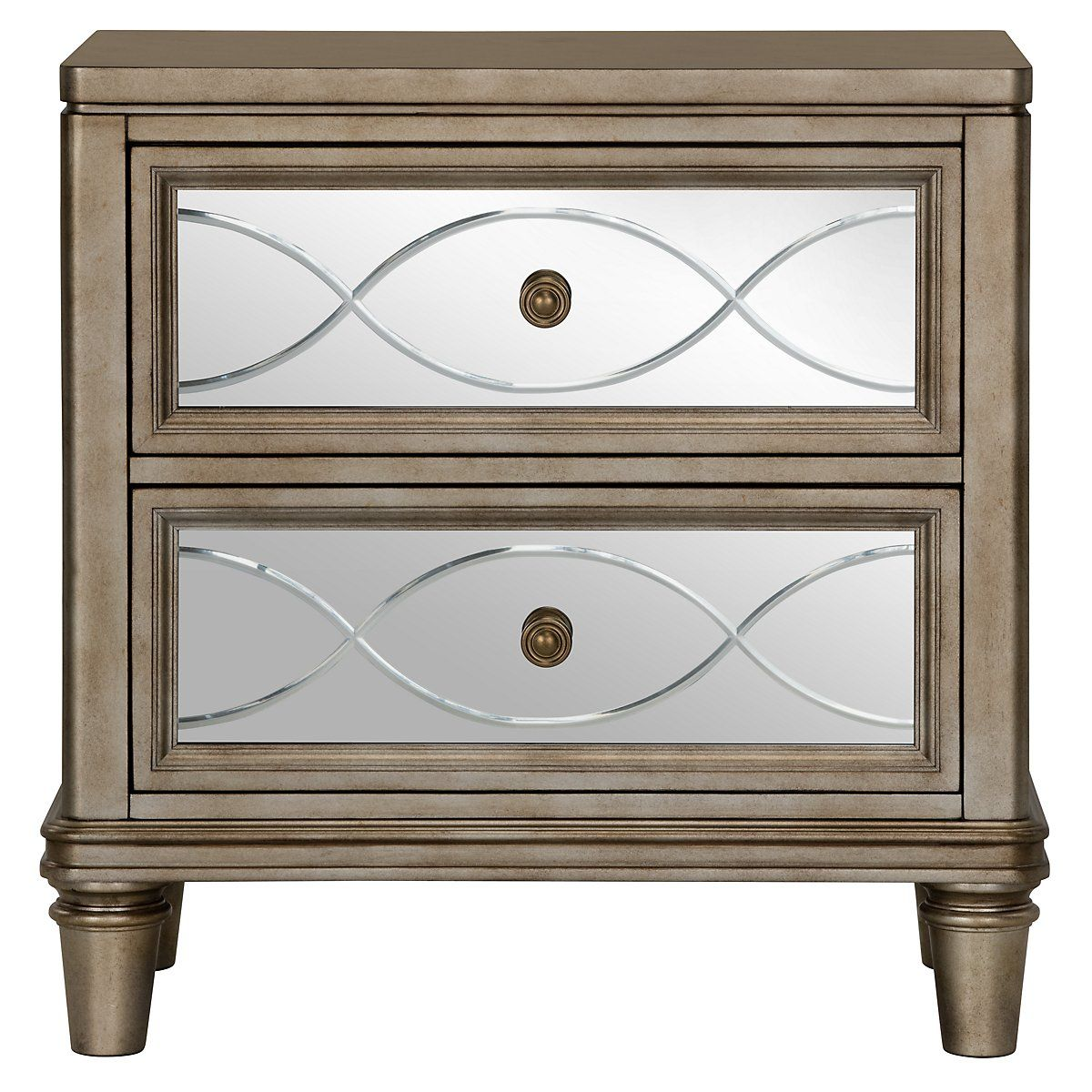 Giselle Mirrored Nightstand Master Bedroom