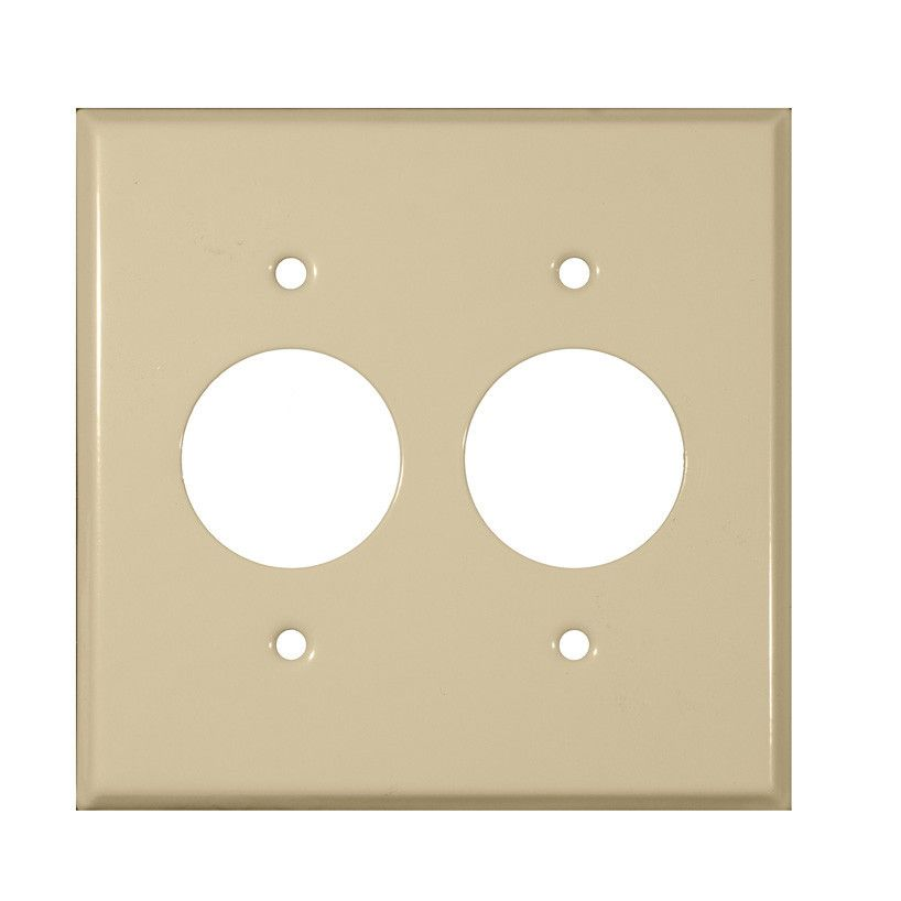 Stainless Steel Metal Wall Plates 2 Gang 2 Single Receptacles Ivory ...