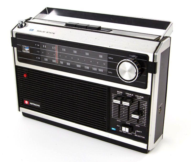 Rare Vintage HITACHI KH-1086R Black & Silver Portable AM FM