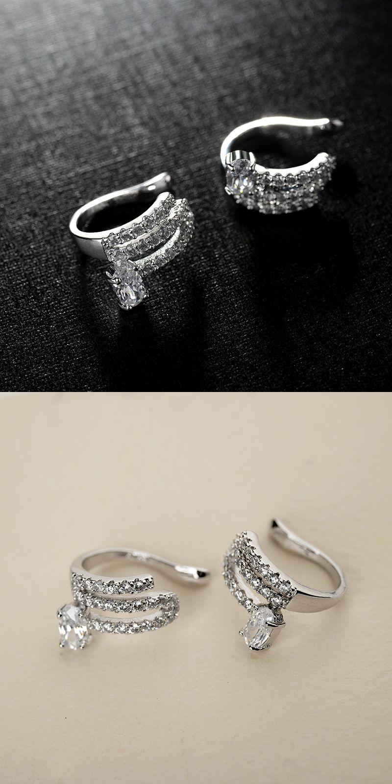 Cubic zirconia ear cuff clip earrings aretes de mujer orecchini donna 6267d60b2a25