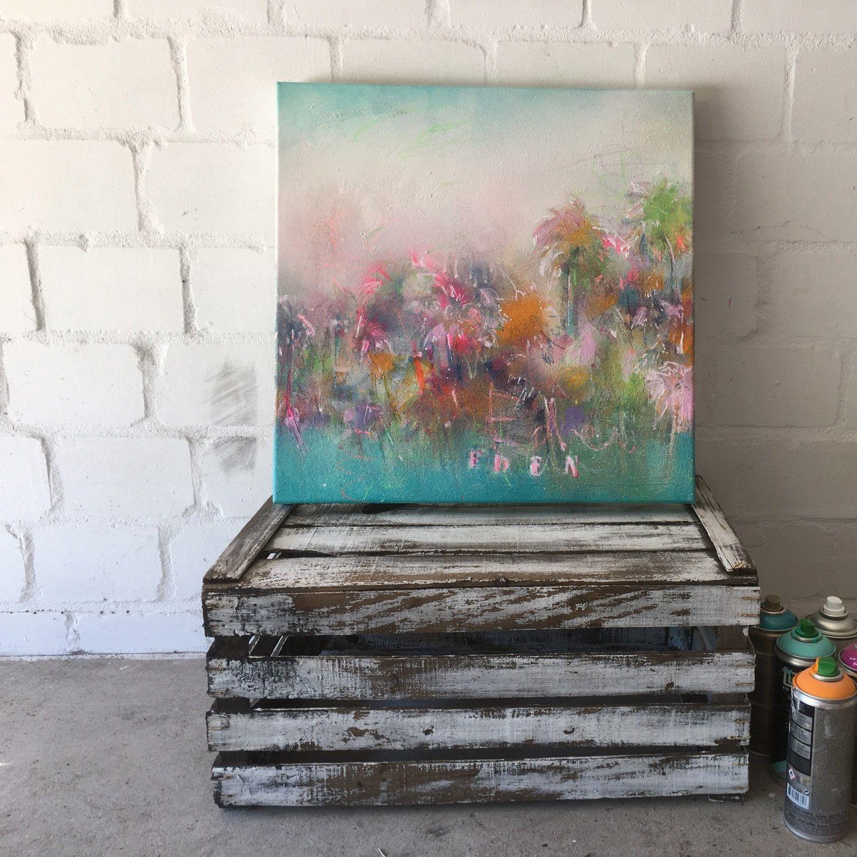 Lieblich Handgefertigte Kunst, Malerei Auf Leinwand, Paradies Garten, Palmen,  Wanddekor
