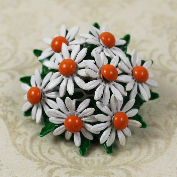 Vintage Orange and White Enameled Domed Flower by scdvintage, $18.00