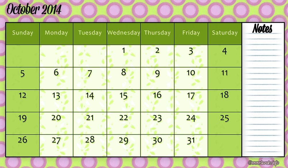 Free Printable October 2014 Calendar A4 Colors of Fall Pinterest
