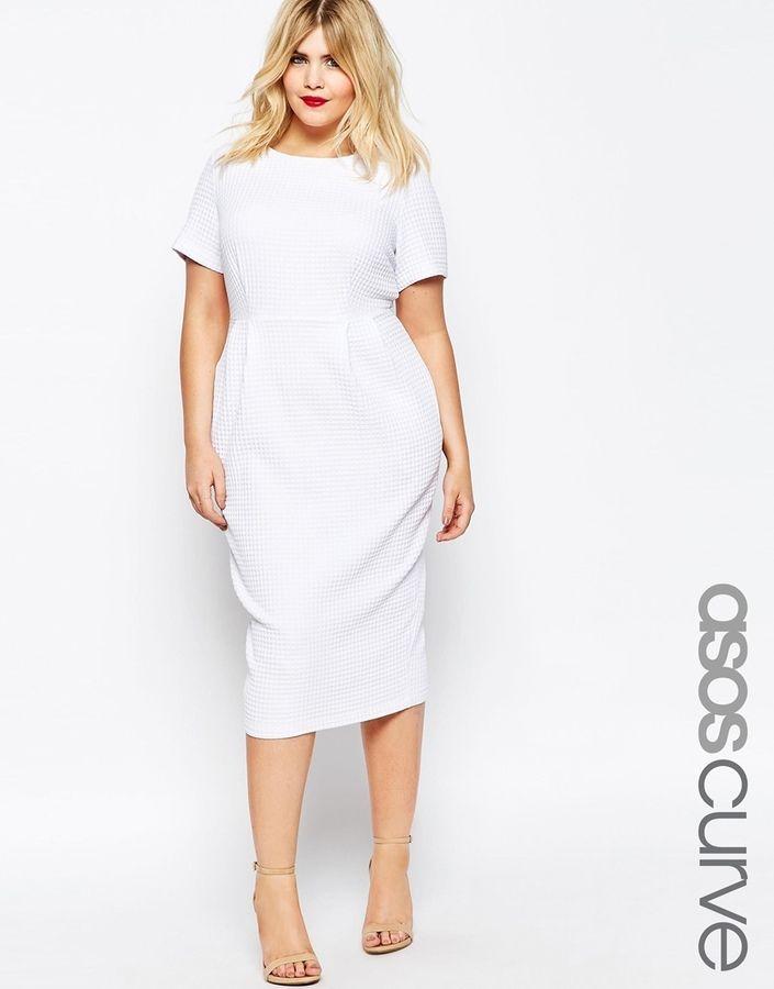 Asos Curve Midi Wiggle Dress In Texture Plus Size Plus Size