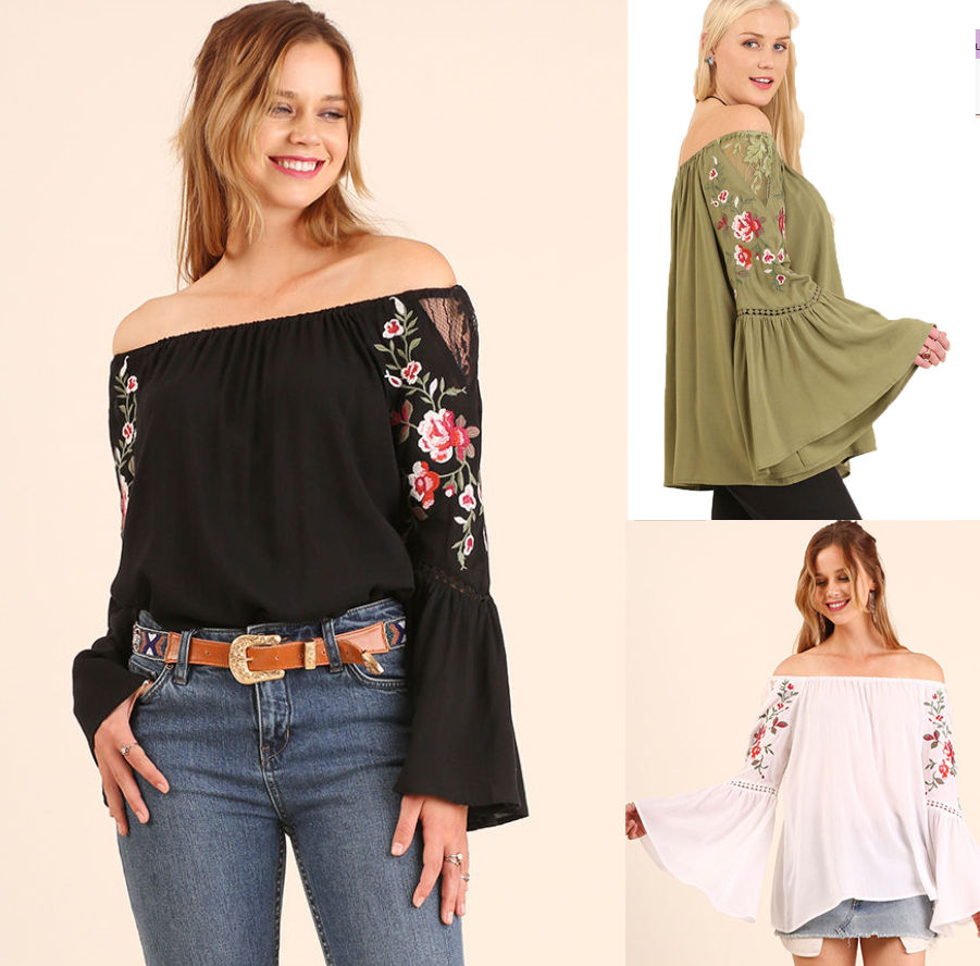 e1aee9251cf30d UMGEE 70 s Boho Embroidered Off Shoulder Bell Sleeve Blouse Gypsy Hippie Top   UMGEE  Blouse  Casual