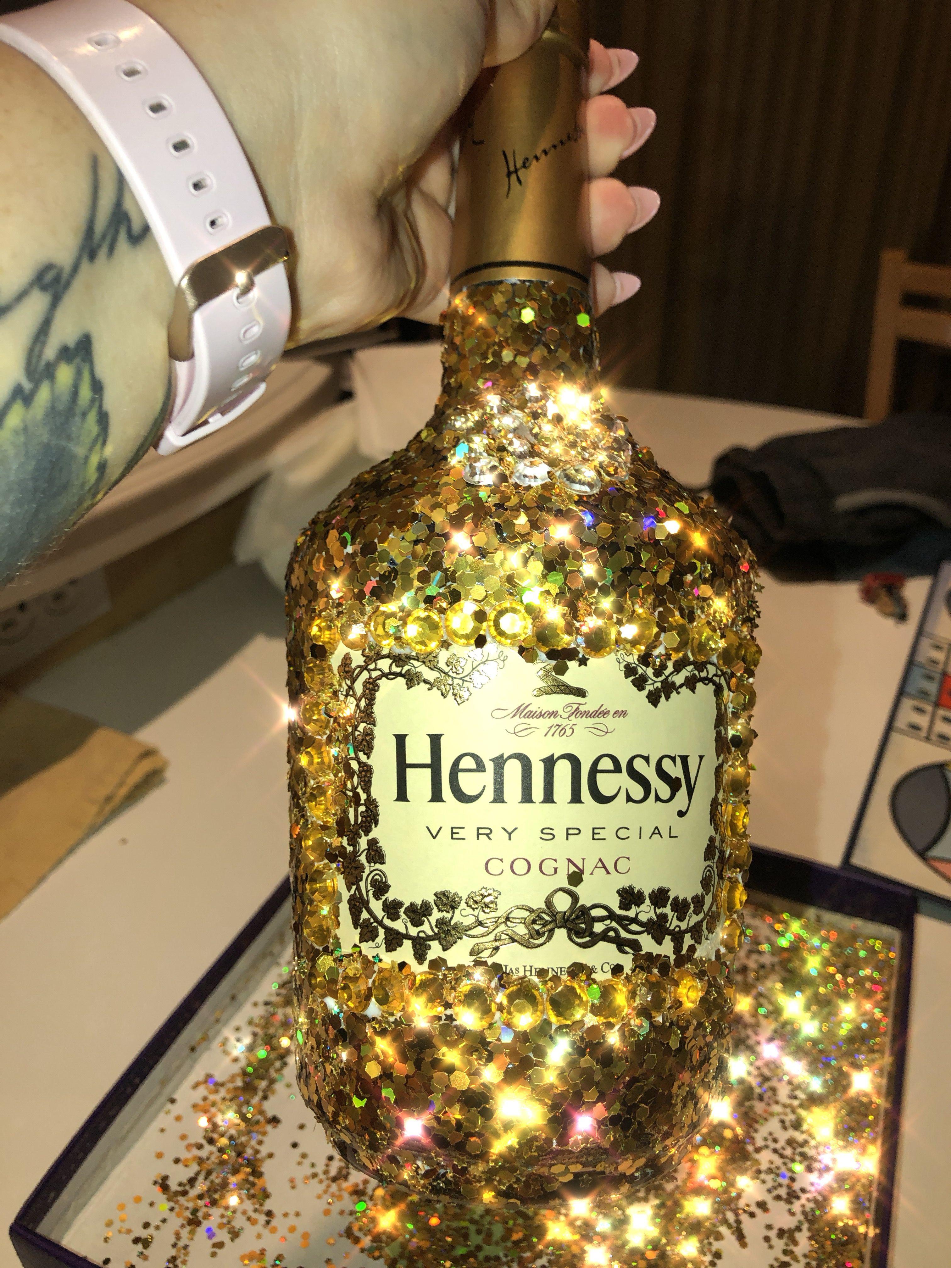 Glitter Hennessy Bottle Alcohol Bottle Decorations Liquor Bottle Crafts Decorated Liquor Bottles