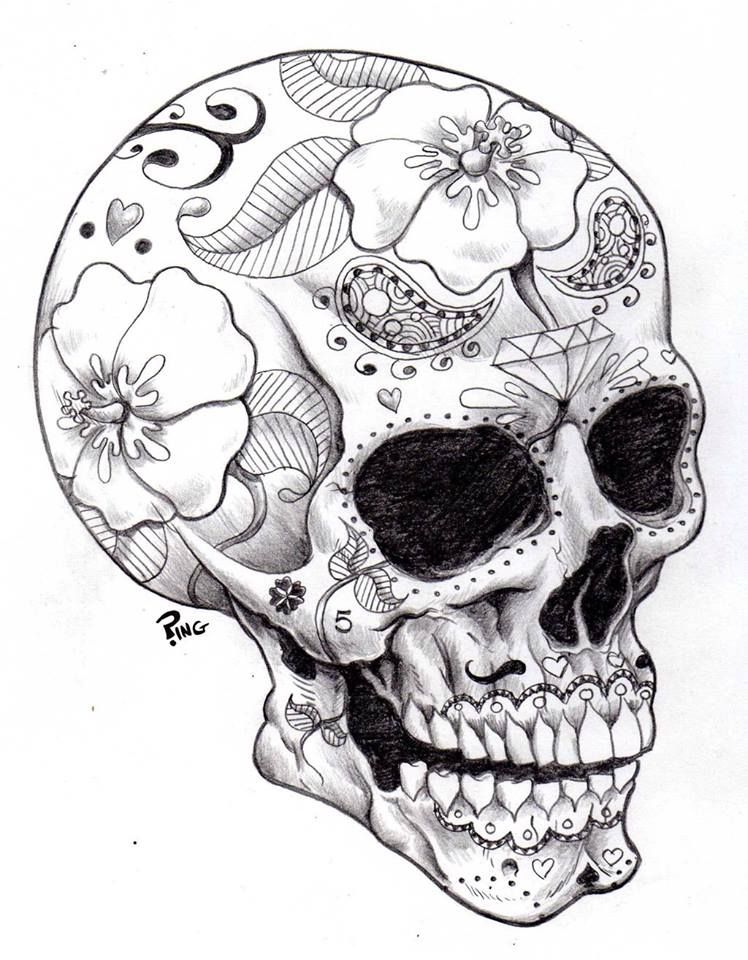 Day of the Dead Skull Sugar Skull Designs skull dead  Big