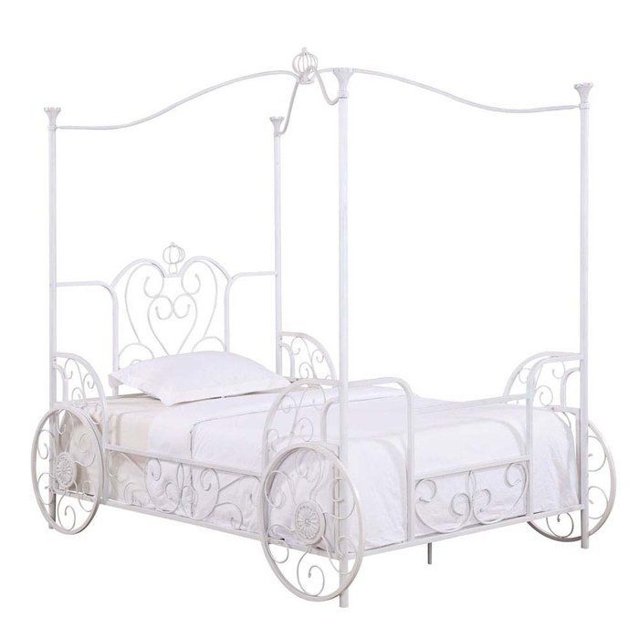 Powell Princess Emily Carriage Canopy Bed With Bed Frame Bed
