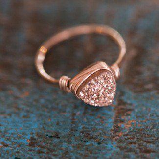 Rose Gold Triangle Druzy Ring