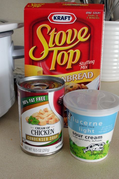 Crock Pot Chicken And Stuffing Only 4 Ingredients 4 Thawed Chicken Breasts 6oz Package Of