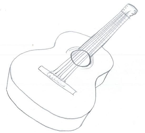 How To Draw An Acoustic Guitar Guitar Drawing Guitar Painting Guitar Art