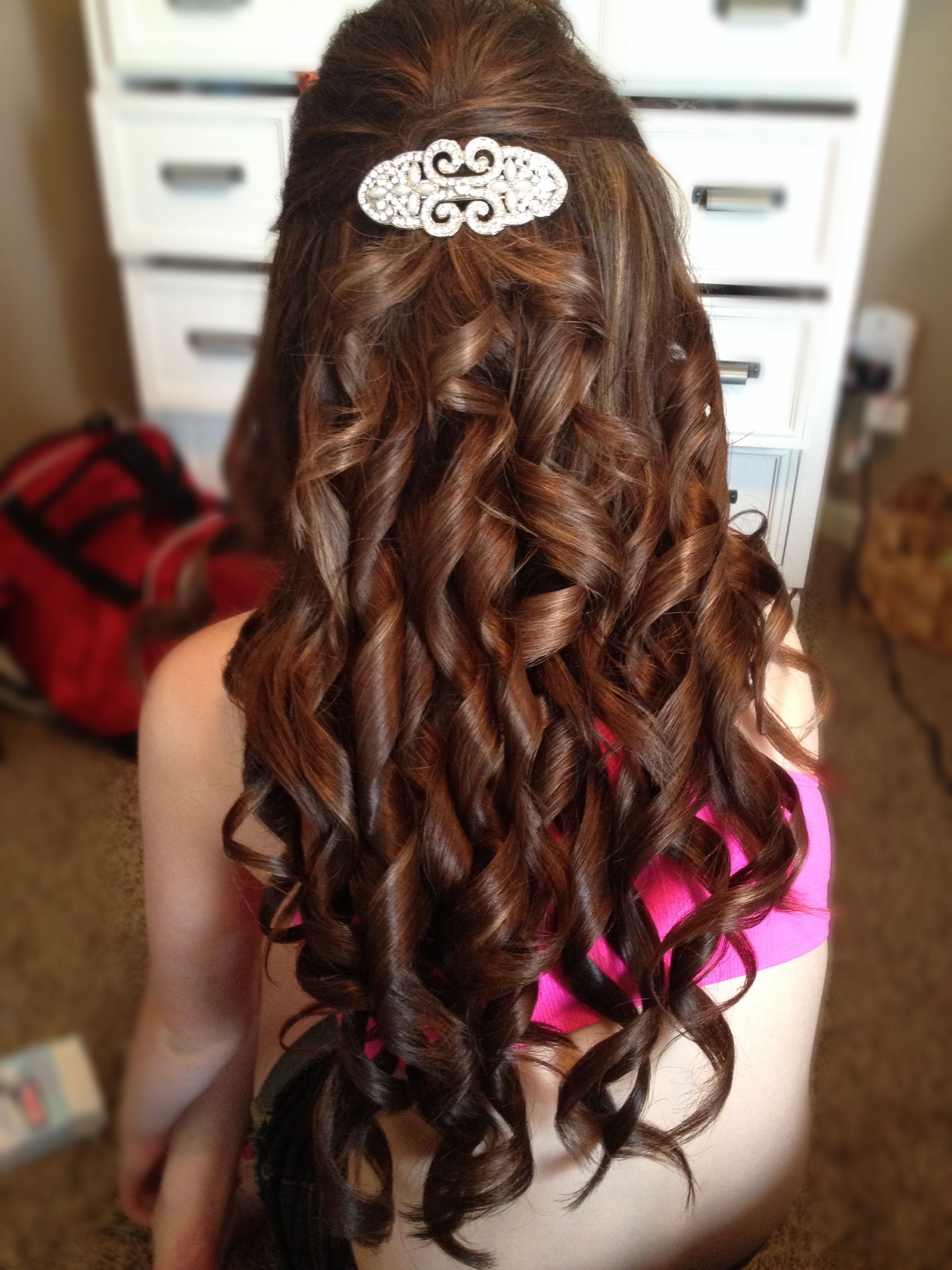 I did my friends hair for prom a really pretty half up half down