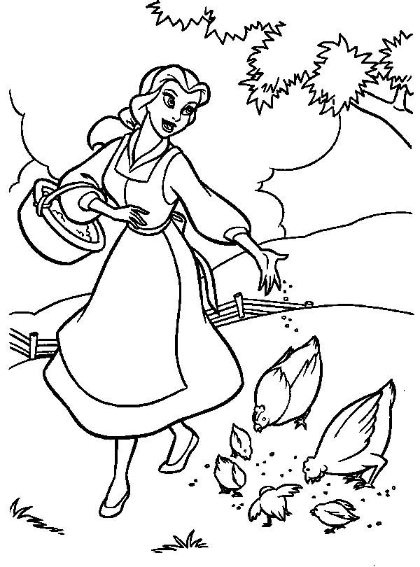 View Coloring Princess Beauty Beast Belle