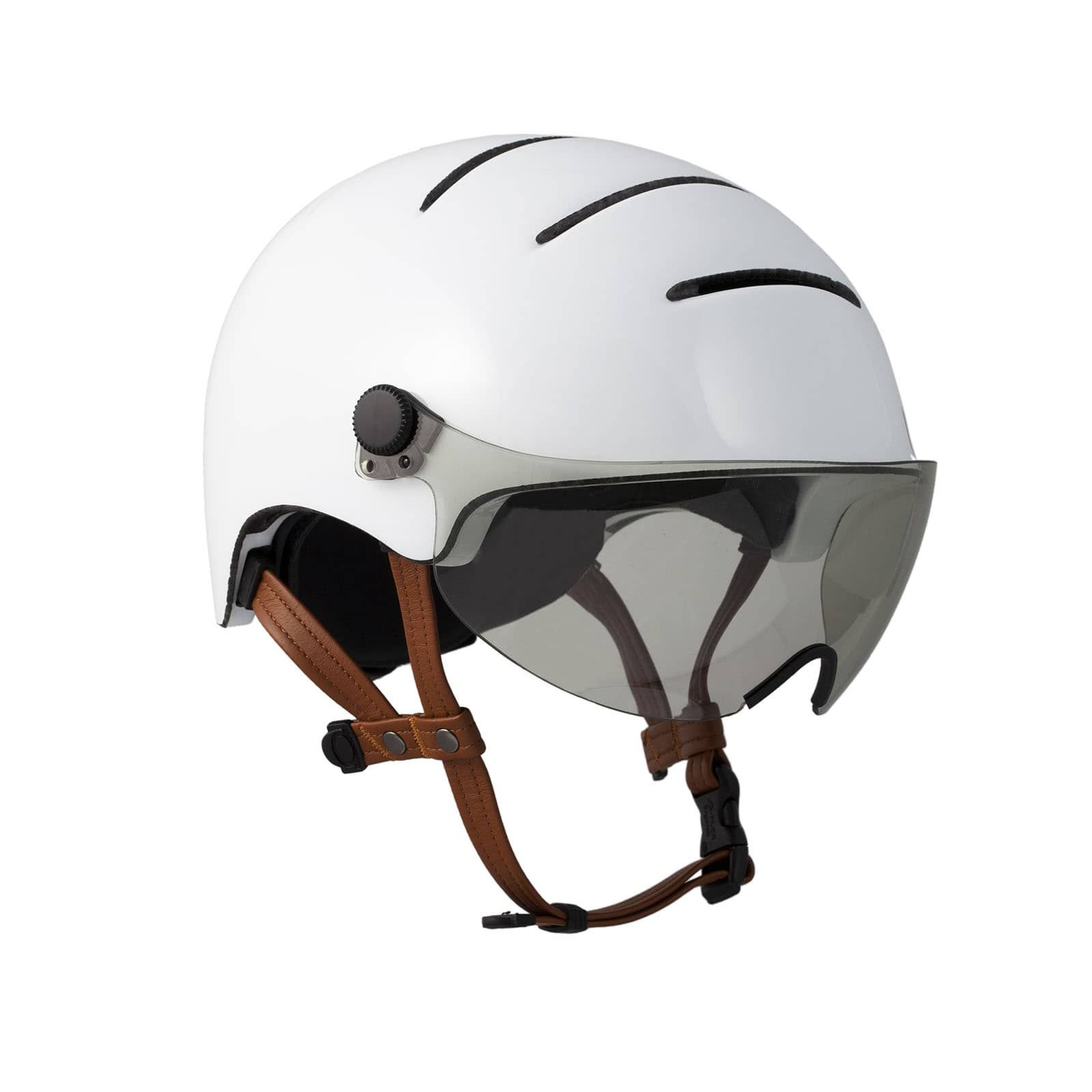 Lifestyle Keeps You Safe With A Vintage Inspired Design Eco Leather Chinstraps And A Light Smoke Visor To Protect Your Eyes Helmet Visor Helmet Cycling Helmet
