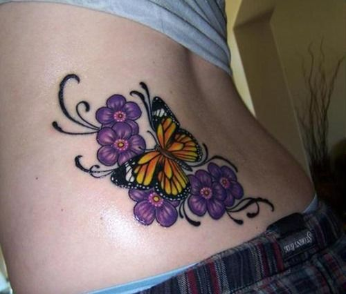 mariposa con flores violetas butterfly tattoo designs tattoo and tattoo designs. Black Bedroom Furniture Sets. Home Design Ideas