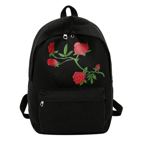 fc82dea0db58 Men Canvas Heart Backpack Cute Women Rose Embroidery Backpacks for Teenagers  Women s School Bags Mochilas Rucksack Travel Bags