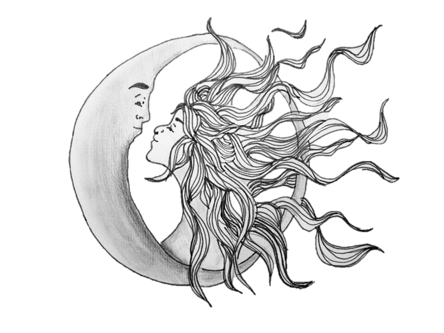 pretty moon drawing - HD 1500×1125
