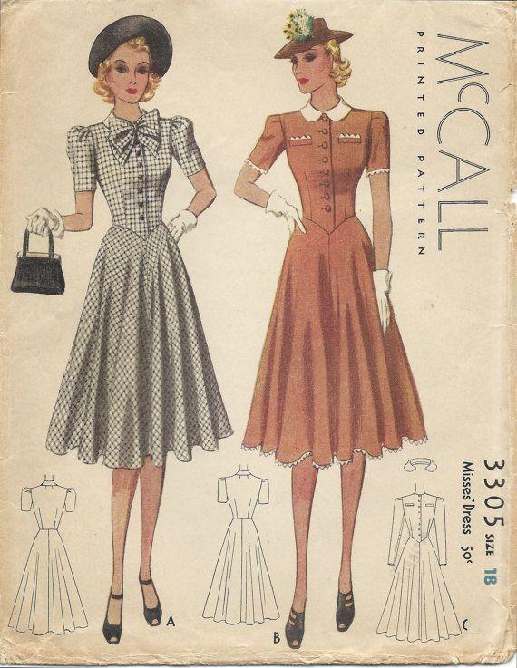 1930s mccall 3305 dress sewing pattern 1939 vintage. Black Bedroom Furniture Sets. Home Design Ideas