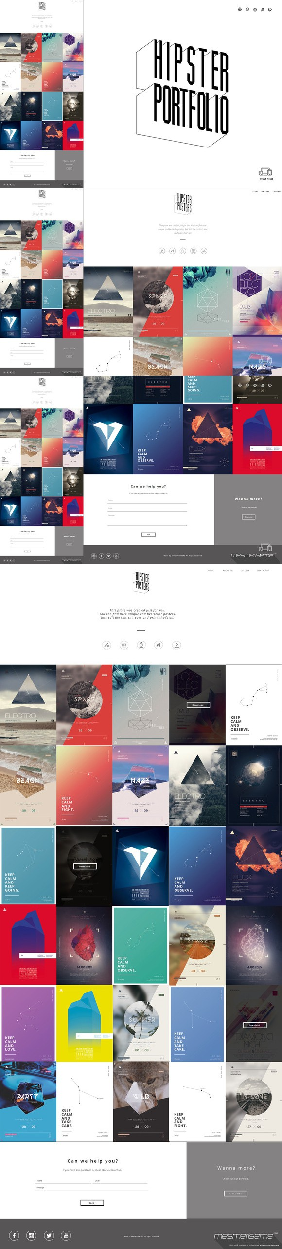 Hipster Portfolio - One Page HTML. Bootstrap Templates. $16.00 ...