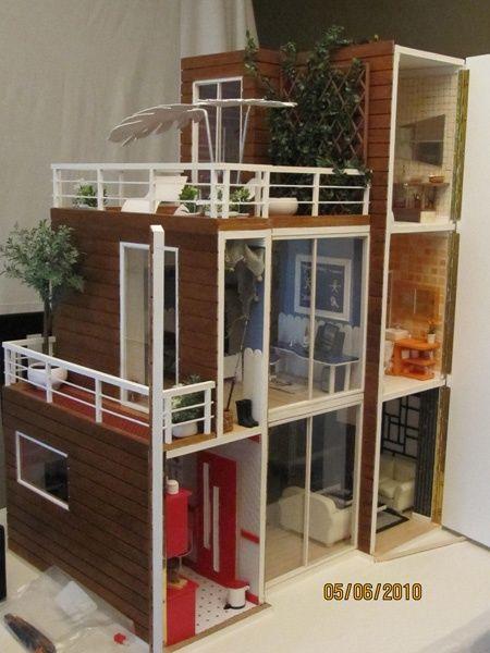 Miniaturas Modernas Casas De Munecas Ana Servio Casas De Munecas Casa De Barbie Casas En Miniatura