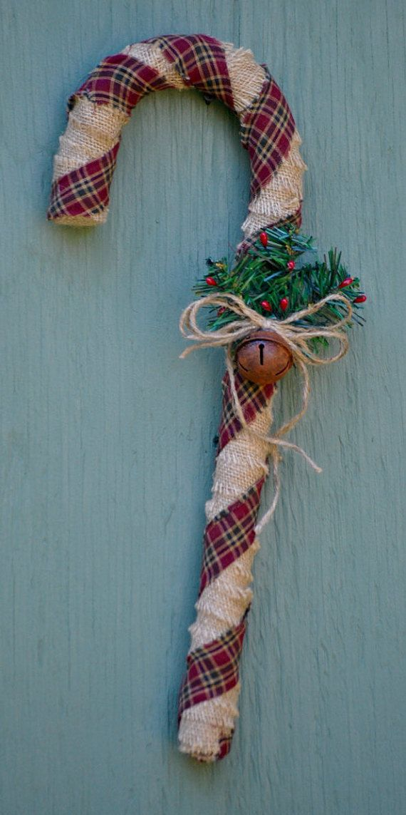 Primitive fabric wrapped candy canes 18 by
