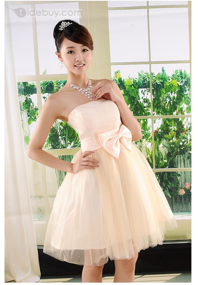 Pale apricot princess strapless dress homecoming i donut know i