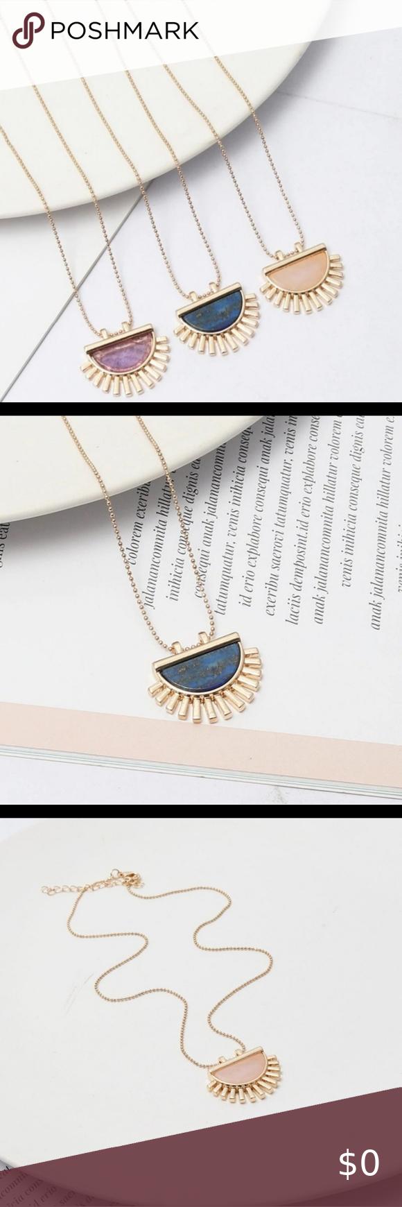 Semi Circle Stone Pendant Stone Pendants Womens Jewelry Necklace Blue Jewelry