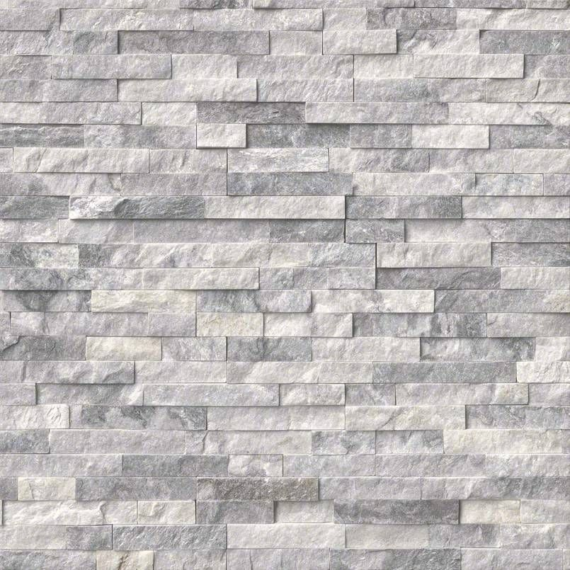 Alaska Gray Stacked Stone, Splitface, Marble, Hardscape, 10 Pieces Modern  Wall And Floor Tile