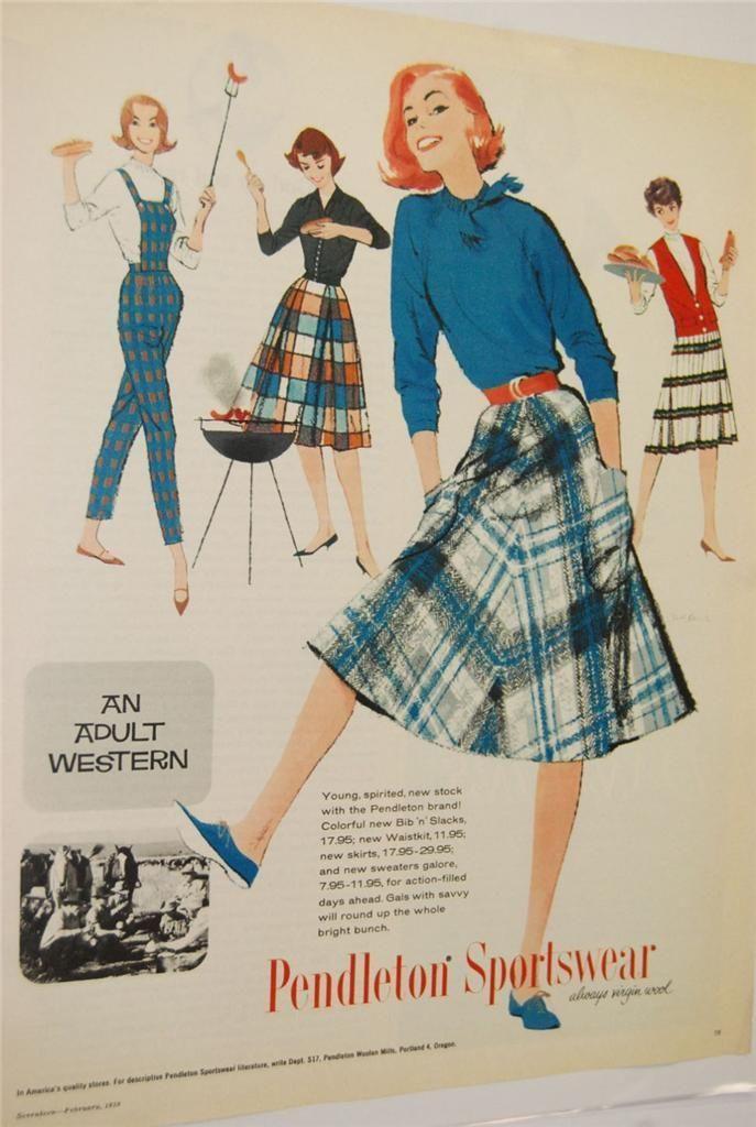 Seventeen Magazine Pendleton Sportswear Western Fashion Vintage Mag Ad 1950s | eBay