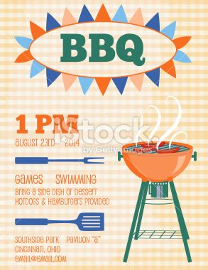 Retro Bbq Invitation Template Royalty Free Stock Vector Art