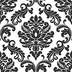ariel noir blanc damask peler et coller papier peint kaschmir pinterest ariel collant. Black Bedroom Furniture Sets. Home Design Ideas