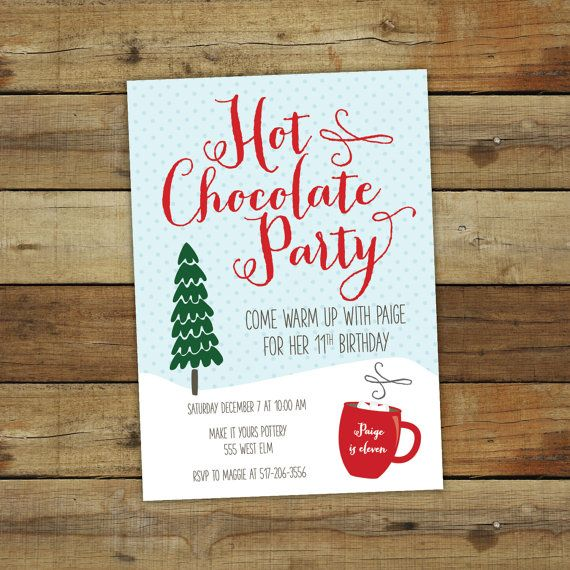 Hot Chocolate Party Invitation Custom Holiday Party Invites Order