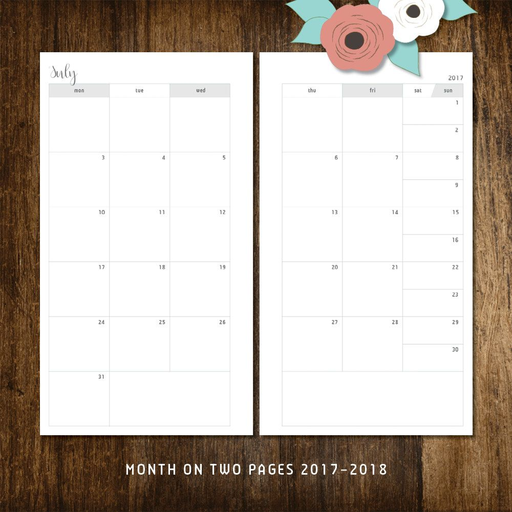 monthly planner inserts 2017-2018 personal size, monday start mo2p