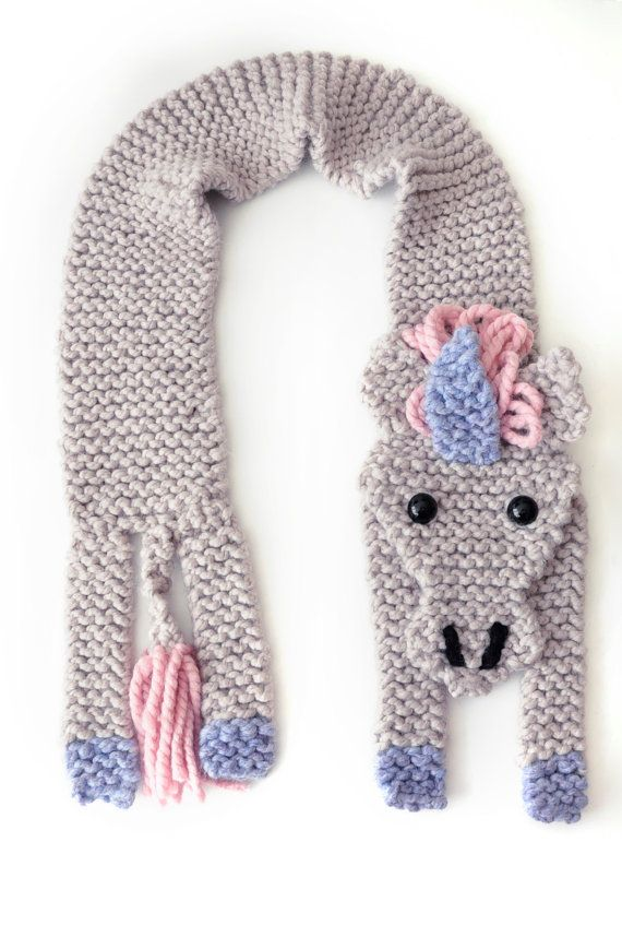 Make Your Own Unicorn Scarf Beginners Easy Knitting Kit Unicorns
