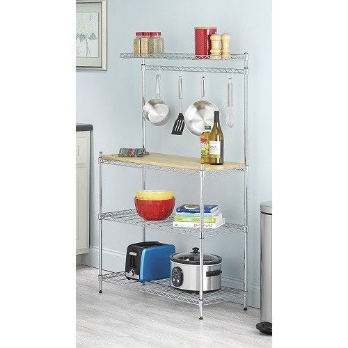 Chrome Bakers Rack Cutting Hook Kitchen Metal New Organizer Shelves Storage Wood