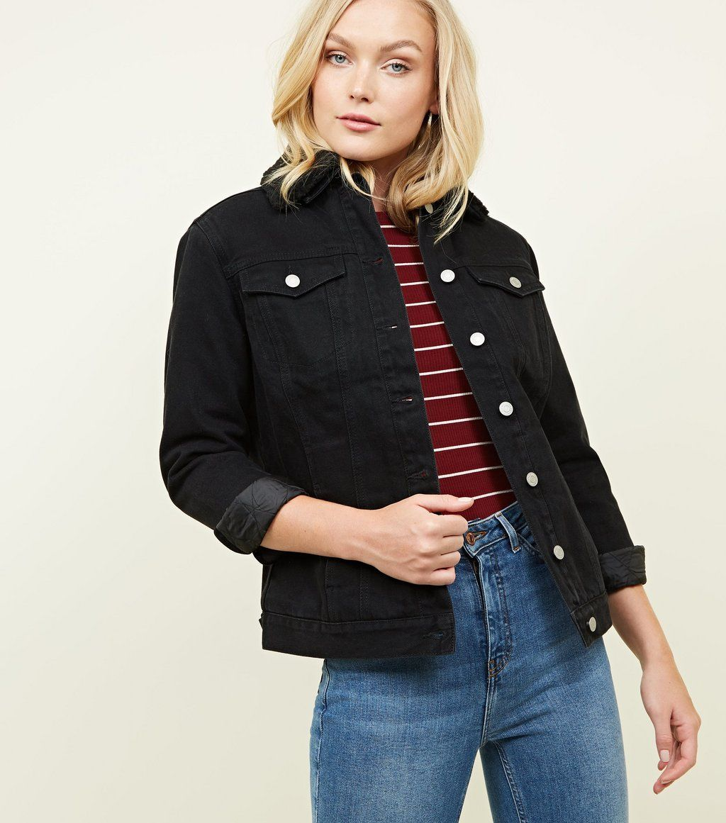 Black Lined Oversized Denim Jacket Oversized denim
