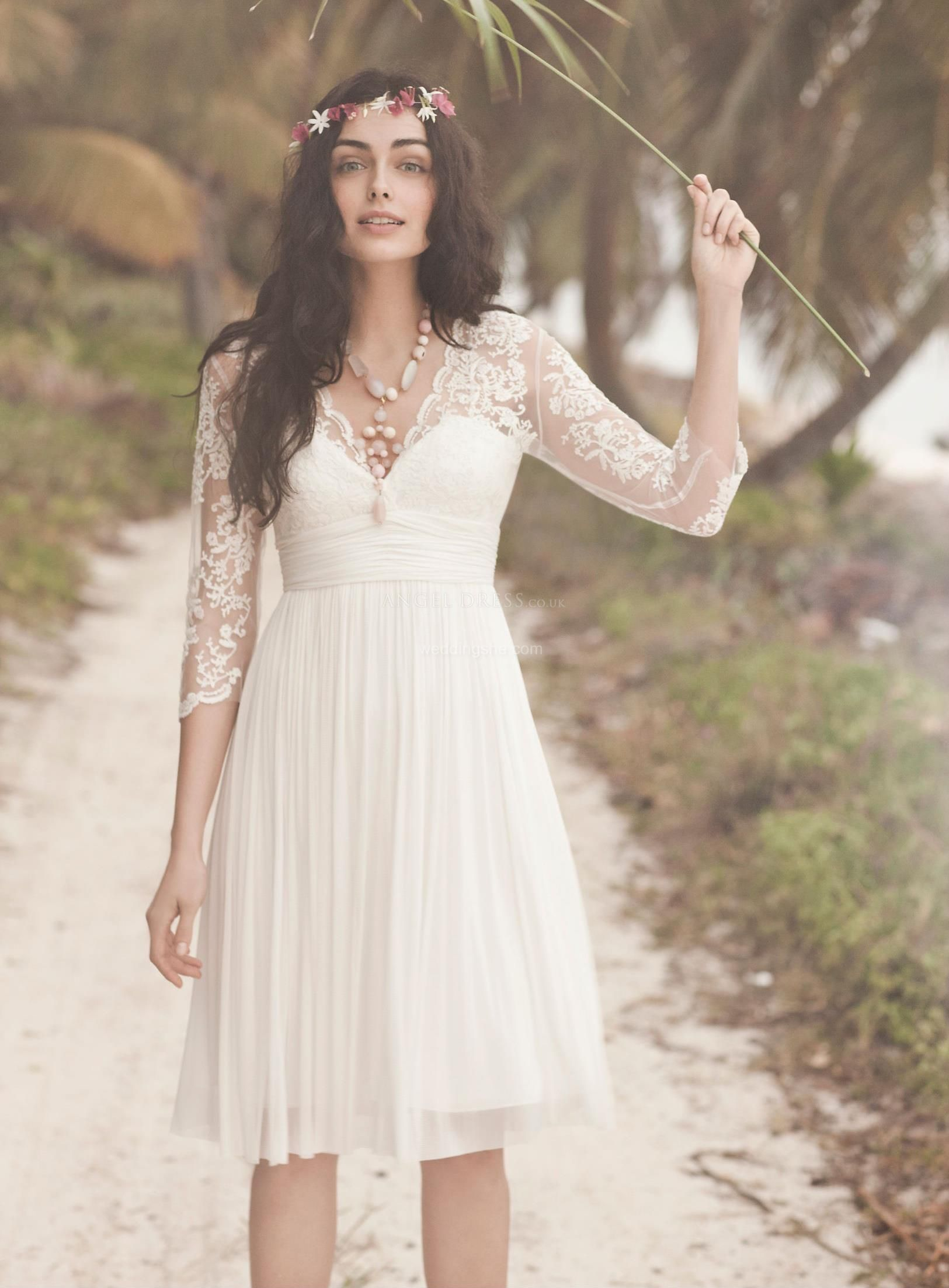 Knee length wedding dress  Chic ALinePrincess Vneck Kneelength Wedding Dresson Sale With