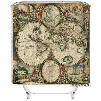 Polyester Shower Curtain Thicken Waterproof Classic World Map