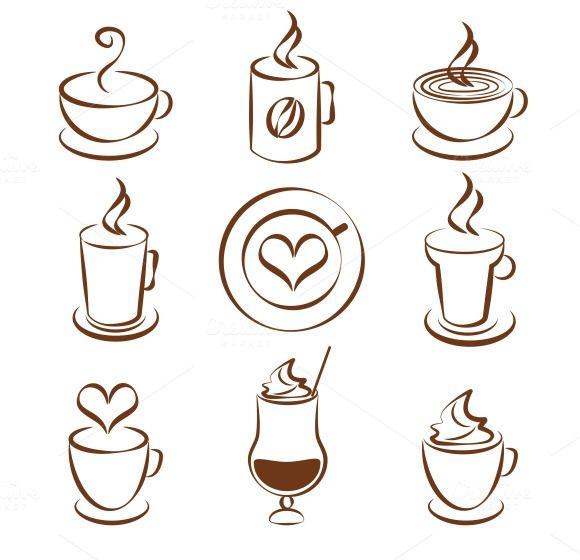 Coffee Cup Vector Symbols By Microvector On Creative Market Hogar