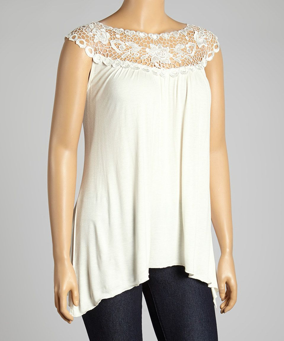 Ivory Floral Lace Yoke Top - Plus by Simply Irresistible #zulily #zulilyfinds