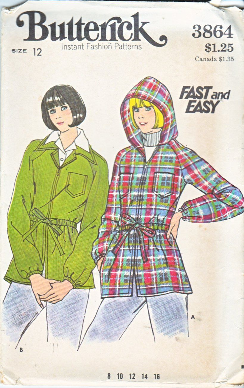 Butterick Sewing Pattern 3864 Misses Size 12 Easy Zipper Front