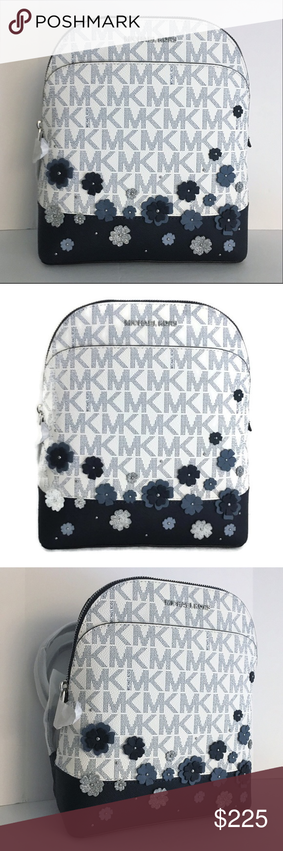 286d8be19fc0 Michael Kors Emmy Backpack Bag ~ Navy Blue Floral This beautiful Emmy  Backpack from Michael Kors